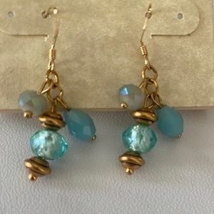 Gold and blue cluster earrings